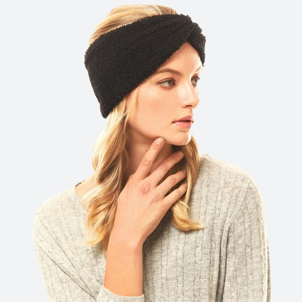 """Sherpa Fleece Headwrap.  - One size fits most - Approximately 5"""" in Width - 100% Polyester"""