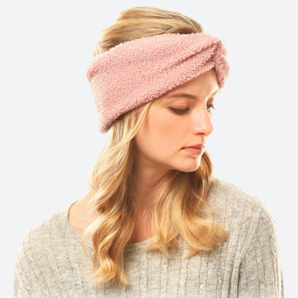 "Sherpa Fleece Headwrap.  - One size fits most - Approximately 5"" in Width - 100% Polyester"
