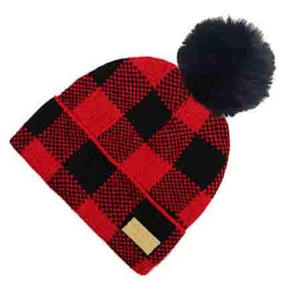 Do everything in Love Brand Buffalo Check Pom Beanie.  - One size fits most  - 100% Acrylic