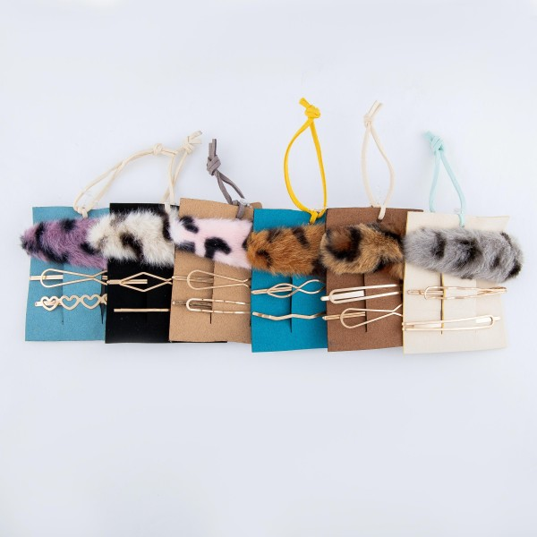 """Faux Fur Animal Print Hair Clip Accessory Set.  - 3 PC Per Set - 1 Fur Animal Print Clip; 2 Gold Design Pins - Approximately 3"""" Long"""
