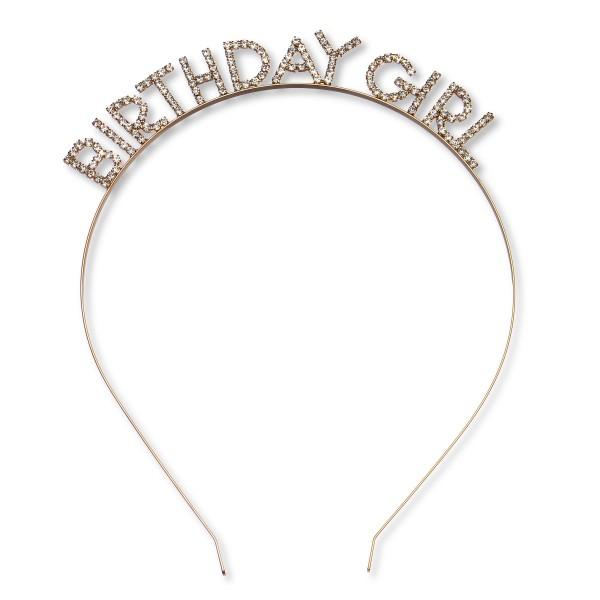 BIRTHDAY GIRL Rhinestone Tiara Metal Headband.  - One size fits most