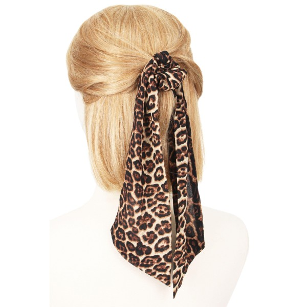 "Ladies Leopard Print Hair Scarf.  - Approximately 12"" L  - 100% Polyester"
