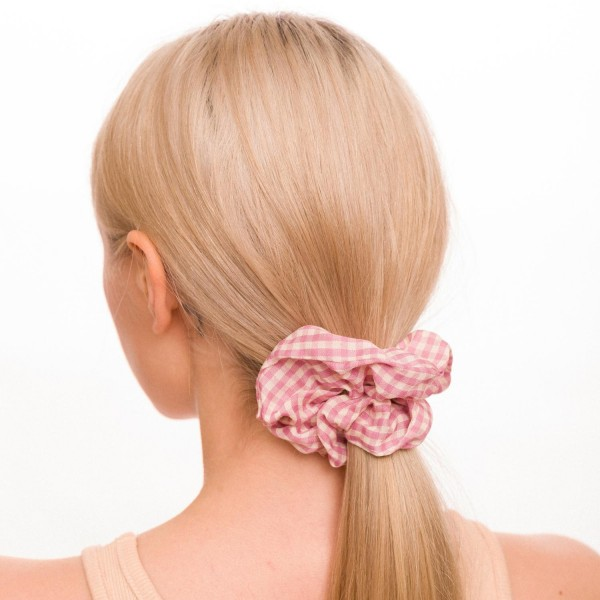 Ladies Buffalo Check Hair Scrunchie.  - 100% Polyester