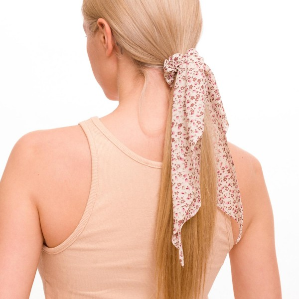 "Ladies Floral Print Hair Scarf.  - Approximately 12"" L  - 100% Polyester"