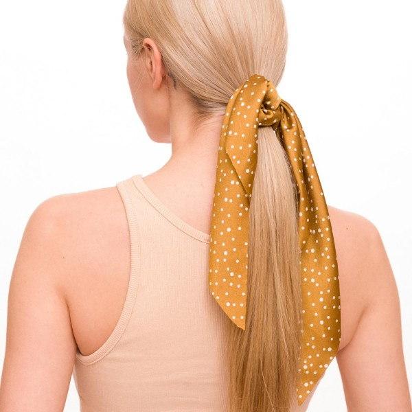 "Ladies Polka Dot Hair Scarf.  - Approximately 12"" L  - 100% Polyester"