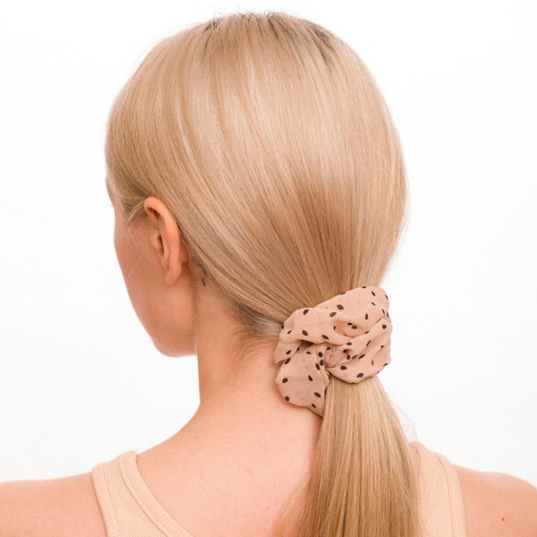 Ladies Sheer Poka Dot Hair Scrunchie.  - 100% Polyester