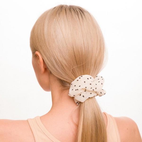 Ladies Sheer Polka Dot Hair Scrunchie.  - 100% Polyester