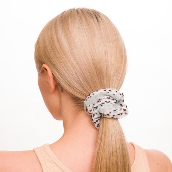 Ladies Sheer Leopard Print Hair Scrunchie.  - 100% Polyester