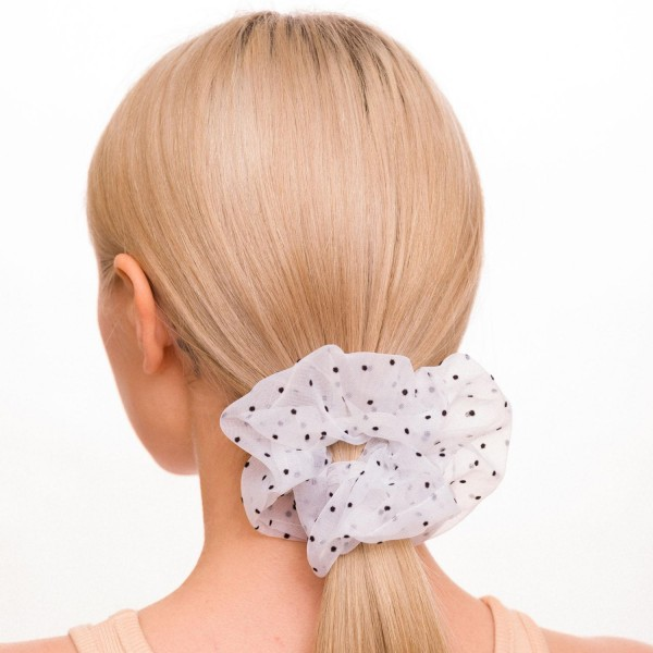 Ladies Tulle Polka Dot Hair Scrunchie.  - 100% Polyester