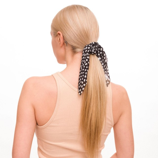 "Ladies Cheetah Print Hair Scarf.  - Approximately 8"" in Length - 100% Polyester"