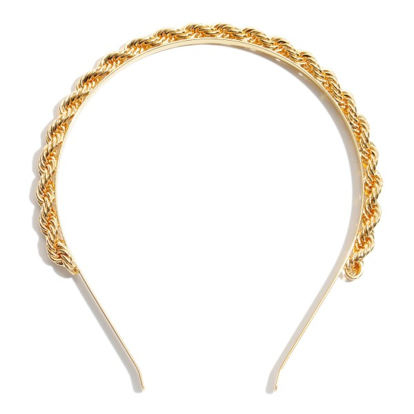 Gold Metal Rope Fashion Headband.  - One size fits most  - Rope Thickness: 7mm