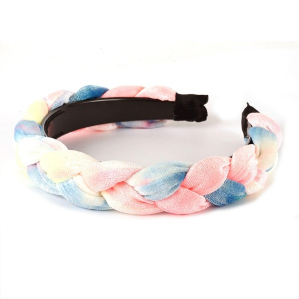 Tie Dye Headband Featuring Braided Details.   - One Size Fits Most