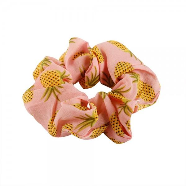 Pineapple Pattern Fabric Scrunchie.   - One Size