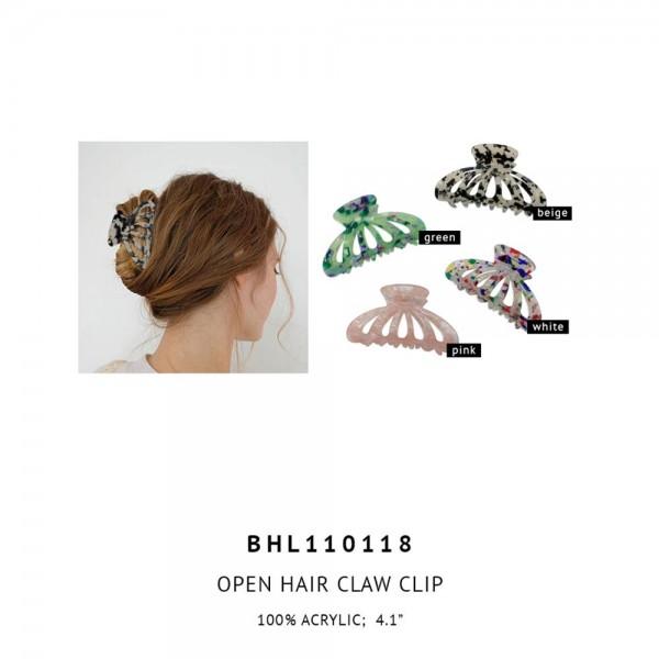 "Acrylic Claw Hair Clip.   - 100% Acrylic  - Approximately 4"" Long"