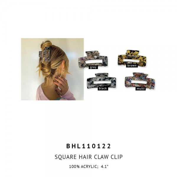 "Acrylic Claw Hair Clip.   - 100% Acrylic  - Approximately 3.5"" Long"