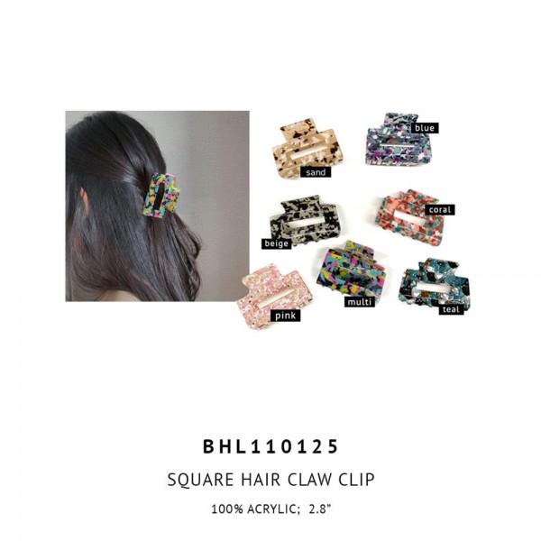 "Acrylic Claw Hair Clip.   - 100% Acrylic  - Approximately 2.75"" Long"