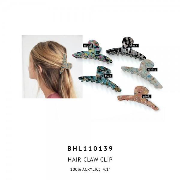 "Acrylic Oval Hair Claw Clip.  - 100% Acrylic - Approximately 4.1"" Long"