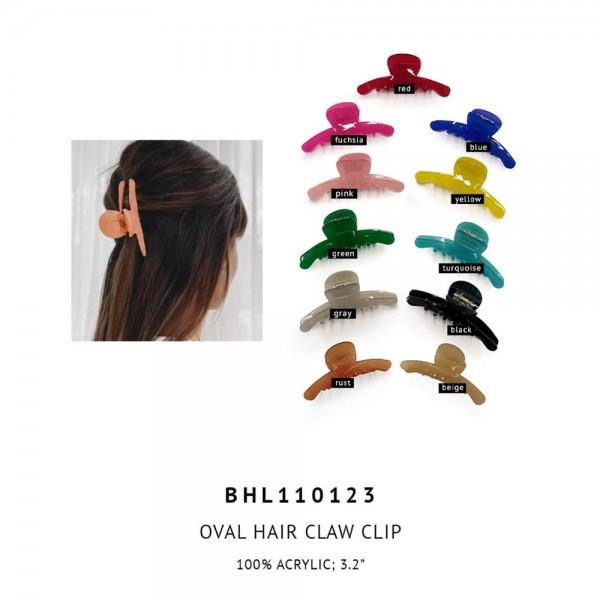 "Acrylic Oval Hair Claw Clip.  - 100% Acrylic - Approximately 3.2"" Long"