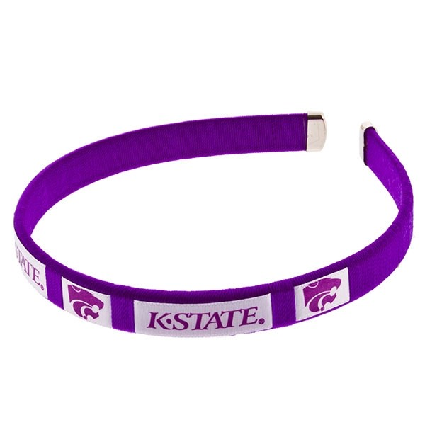 Officially licensed 1/2 inch purple spirit headband with the Kansas State logo.
