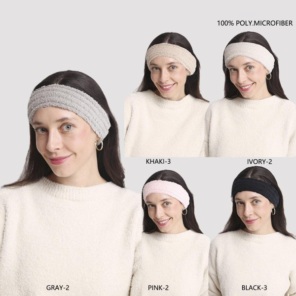 """Super Soft Fuzzy Knit Headwraps ( Assorted 12 Pack)   - Assorted Colors (5 Colors Per Pack) - 12 Headwraps Per Pack- One Size Fits Most - 4"""" Band Width - 100% Polyester"""