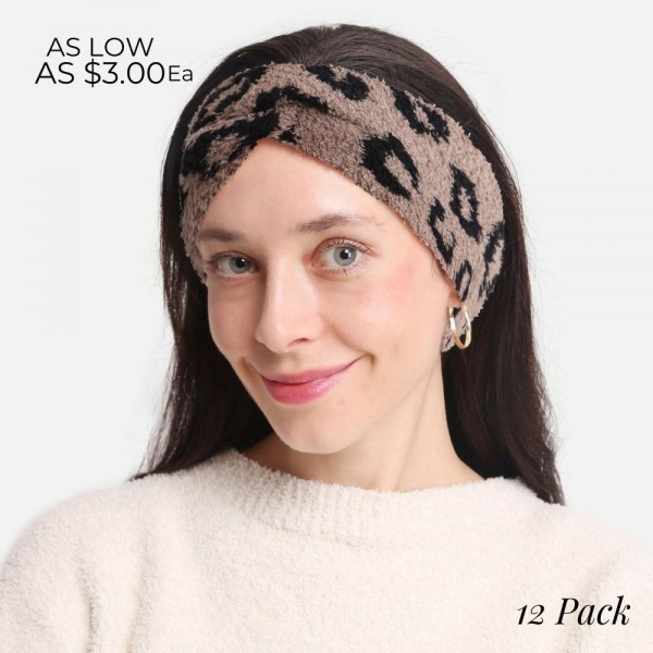 """Super Soft Fuzzy Knit Leopard Print Headwrap (Assorted 12 Pack)  - Assorted Colors (3 Colors Per Pack) - 12 Headwraps Per Pack - One Size Fits Most - 4"""" Band Width - 100% Polyester"""