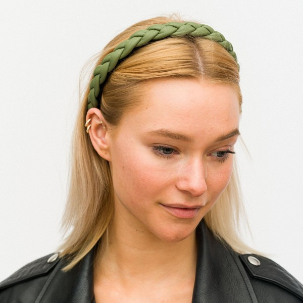 Women's Faux Leather Braided Headband.   - One Size Fits Most
