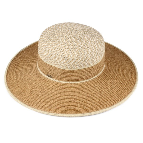 C.C brand ST-711 two tone brim hat. 80% paper straw and 20% polyester. UPF 50+