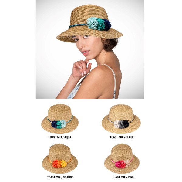 C.C brand ST-712 panama hat with ombre paper flower band. 80% paper straw and 20% polyester. UPF 50+