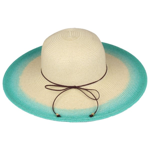 C.C brand ST-713 ombre brim hat. 80% paper straw and 20% polyester. UPF 50+