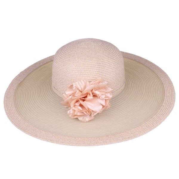 C.C brand ST-716 transparent wide brim hat. 40% paper straw and 60% polyester. UPF 50+