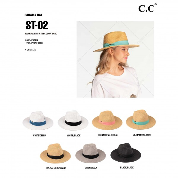 "C.C ST-02 (Dark Natural) Wide brim sun hat with solid ribbon    - One size fits most - Brim width 3.5"" - 80% Paper 20% Polyester"