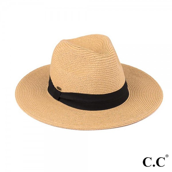 """C.C ST-02 (Dark Natural) Wide brim sun hat with solid ribbon    - One size fits most - Brim width 3.5"""" - 80% Paper 20% Polyester"""