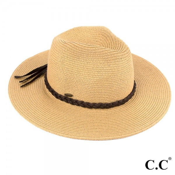 """C.C ST-03  Wide brim hat with faux leather tassel band  - One size fits most  - Brim width 3.5""""  - 80% Straw, 20% Polyester"""