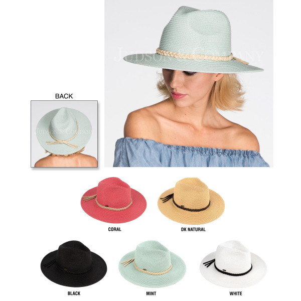 "C.C ST-03  Wide brim hat with faux leather tassel band  - One size fits most  - Brim width 3.5""  - 80% Straw, 20% Polyester"
