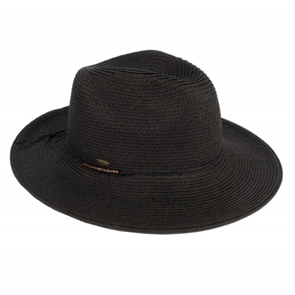 C.C brand ST-112 brim hat with faux leather tie-band. 80% paper straw and 20% polyester. UPF 50+