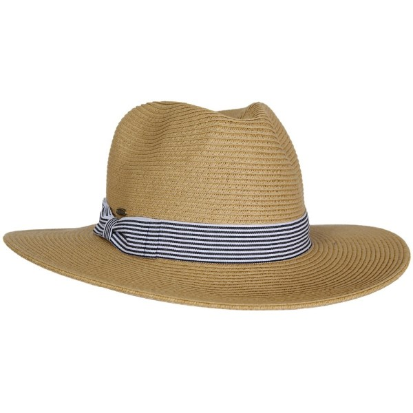 C.C brand ST-114 brim hat with striped band. 80% paper straw and 20% polyester. UPF 50+
