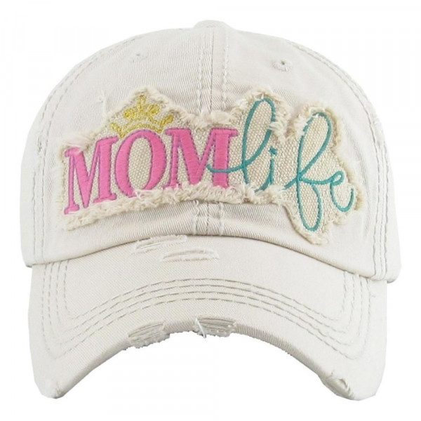 """""""Mom Life"""" embroidered vintage distressed baseball cap.  - One size fits most - Adjustable velcro closure - 100% Cotton"""