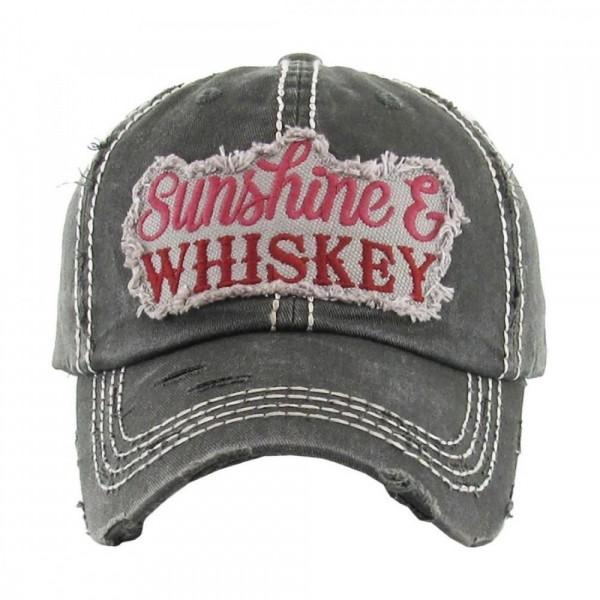 """Sunshine & Whiskey"" Vintage Distressed Baseball Cap.  - 100% cotton - Adjustable back strap - One size fits most"