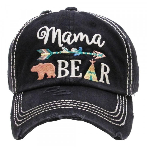 """""""Mama Bear"""" Embroidered Vintage Distressed Baseball Cap.  - 100% cotton - Adjustable back strap - One size fits most"""