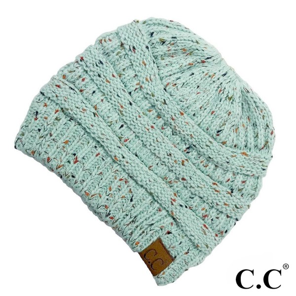 C.C MB-33  Ribbed confetti messy bun knit beanie   - 100% Acrylic - One size fits most