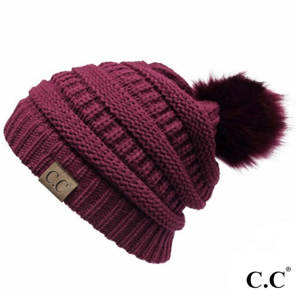 Wholesale c C YJ POM Solid Color Ribbed Knit Pom Beanie Acrylic One fits most
