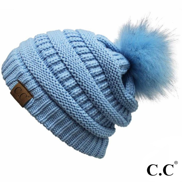 C.C YJ-64POM  Solid Color Ribbed Knit Pom Beanie.  - 100% Acrylic - One size fits most