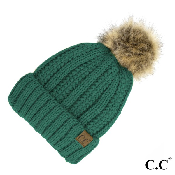 Wholesale c C YJ Fuzzy Lined Knit Faux Fur Pom Beanie One fits most Acrylic