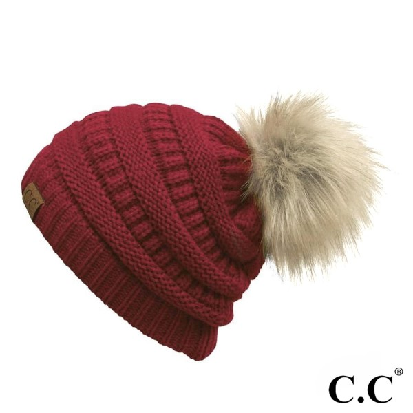 C.C HAT-43  Solid ribbed beanie with faux fur pom  - 100% Acrylic - One size fits most