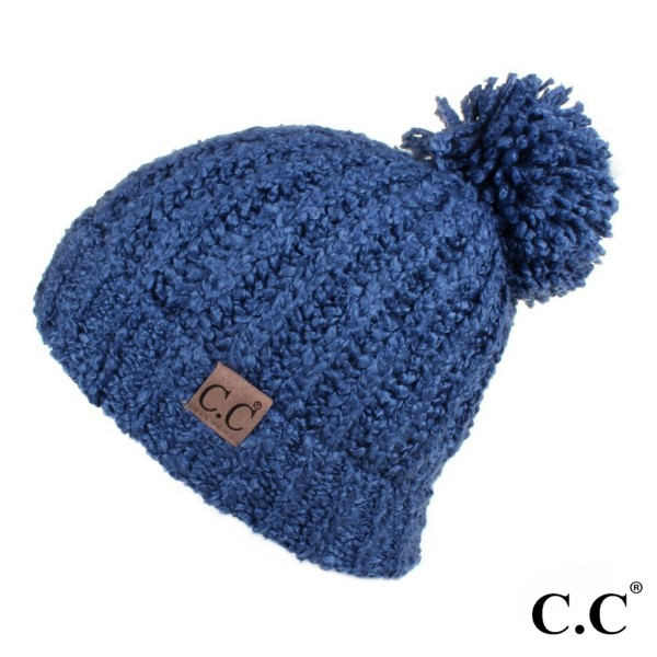 C.C HAT-7362  New chenille beanie with pom  - 100% Acrylic - One size fits most