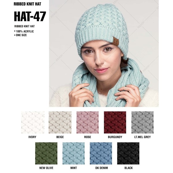 C.C HAT-47  Ribbed knit beanie  - 100% Acrylic - One size fits most