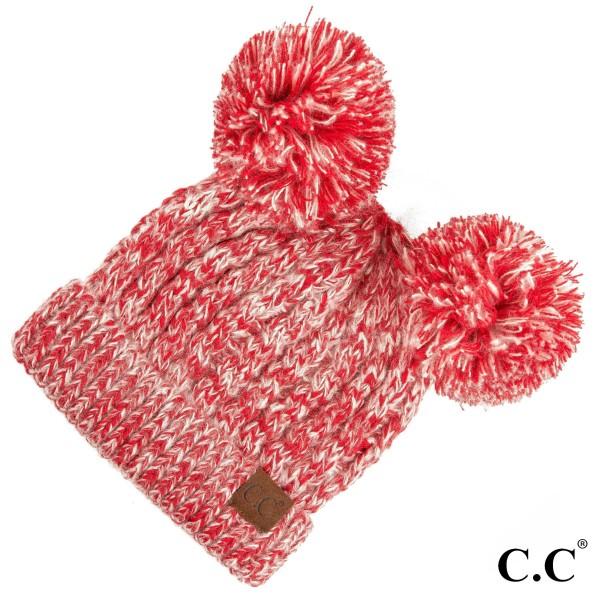 C.C HAT-23  Double pom beanie  - 100% Acrylic - One size fits most
