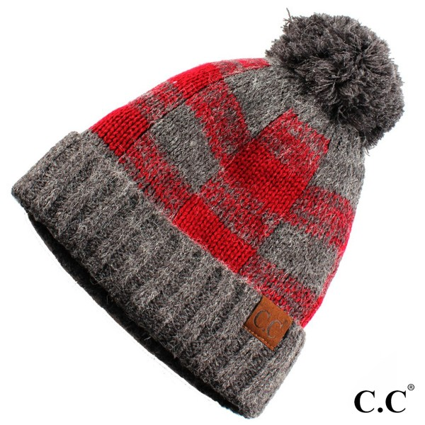 C.C HAT-55 Buffalo check pattern beanie with fuzzy lining  - One size fits most - 100% Acrylic