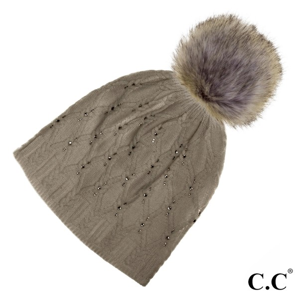C.C HAT-302P  Black label crystal beanie with real raccoon fur pom  - 20% Angora, 80% Acrylic - One size fits most