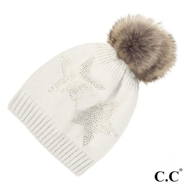 C.C HAT-501  Faux fur pom with rhinestone stars pattern  - 100% Acrylic - One size fits most